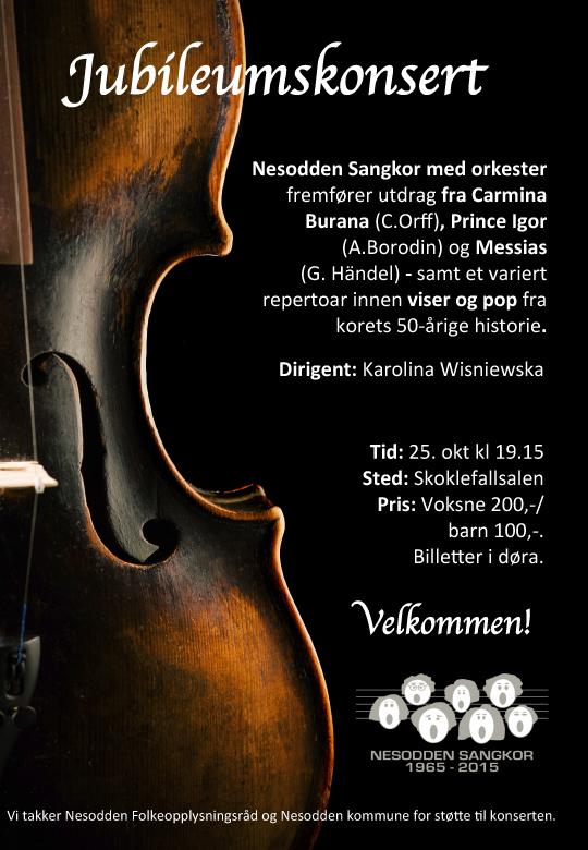 Jubileumskonsert i Skoklefallsalen 25. oktober 2015. Nesodden Sangkor og 16 manns orkester. Dirigent: Karolina Wisniewska.